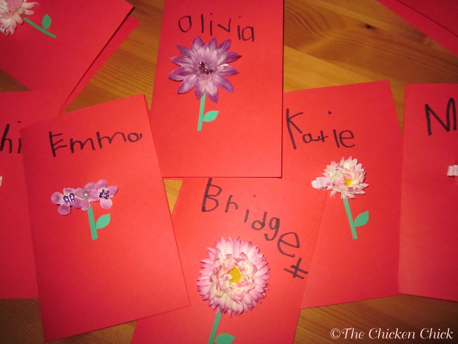 The Chicken Chick Flower Hair Clip Cards – Valentine Cards for Kindergarten