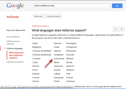 languages support google adsense
