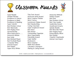 photo of Classroom Award List