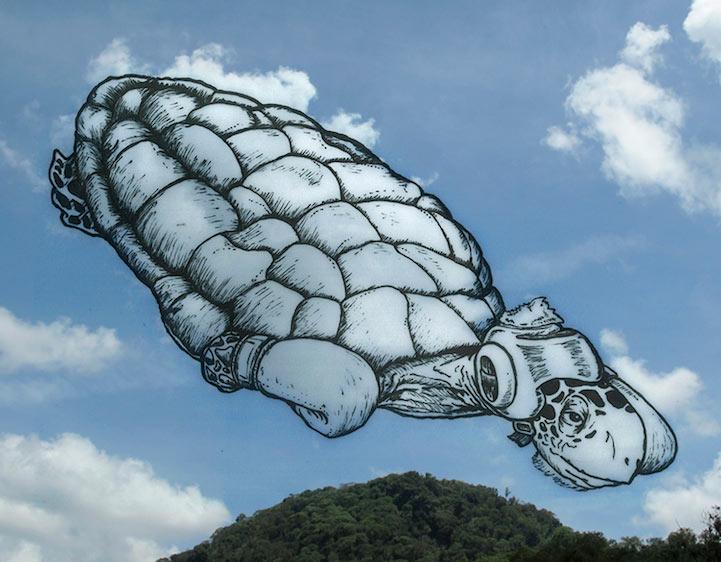 Caprichosos dibujos crean fantástico personajes en las nubes