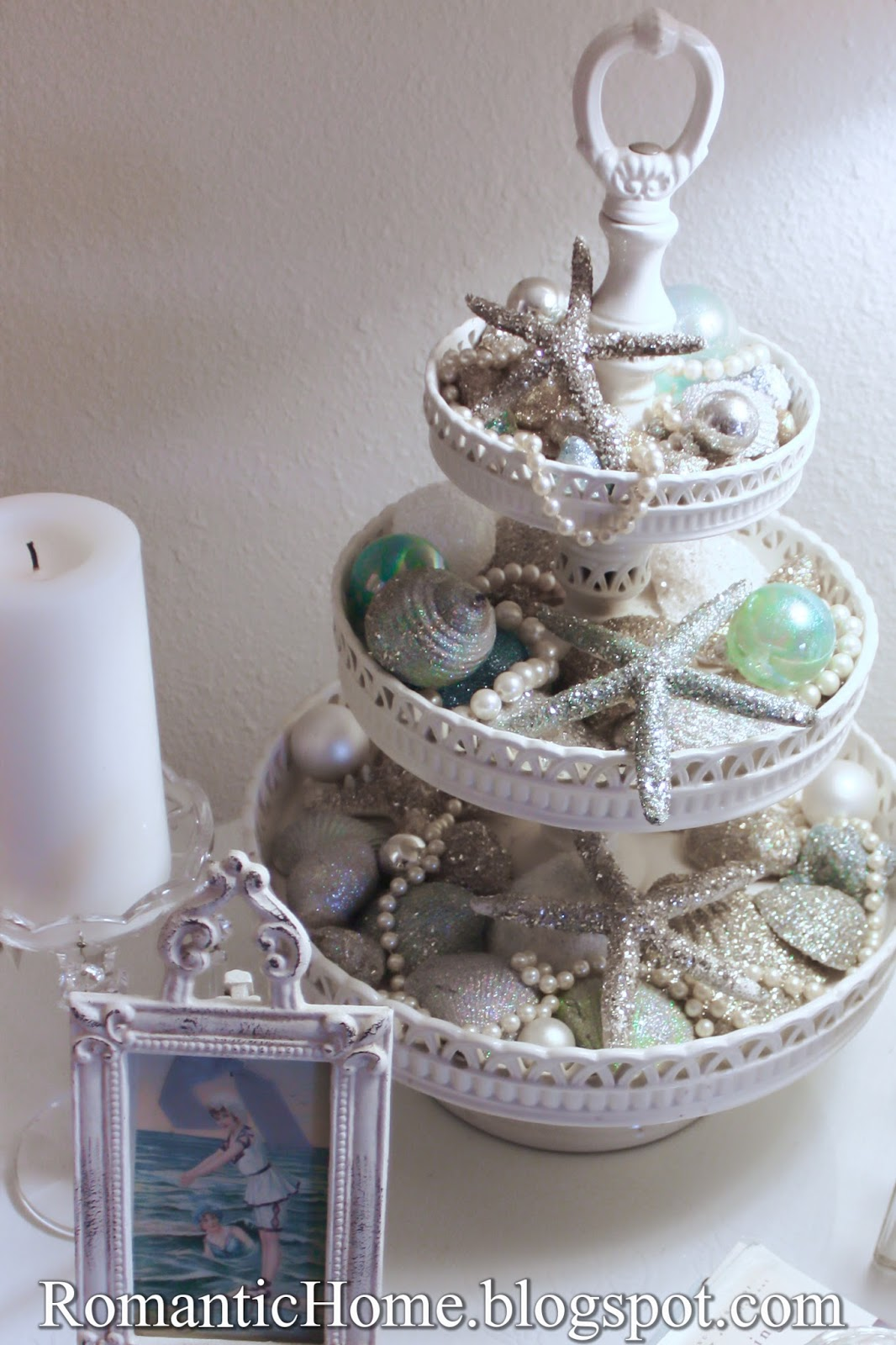 my romantic home: glittered seashells - show and tell friday