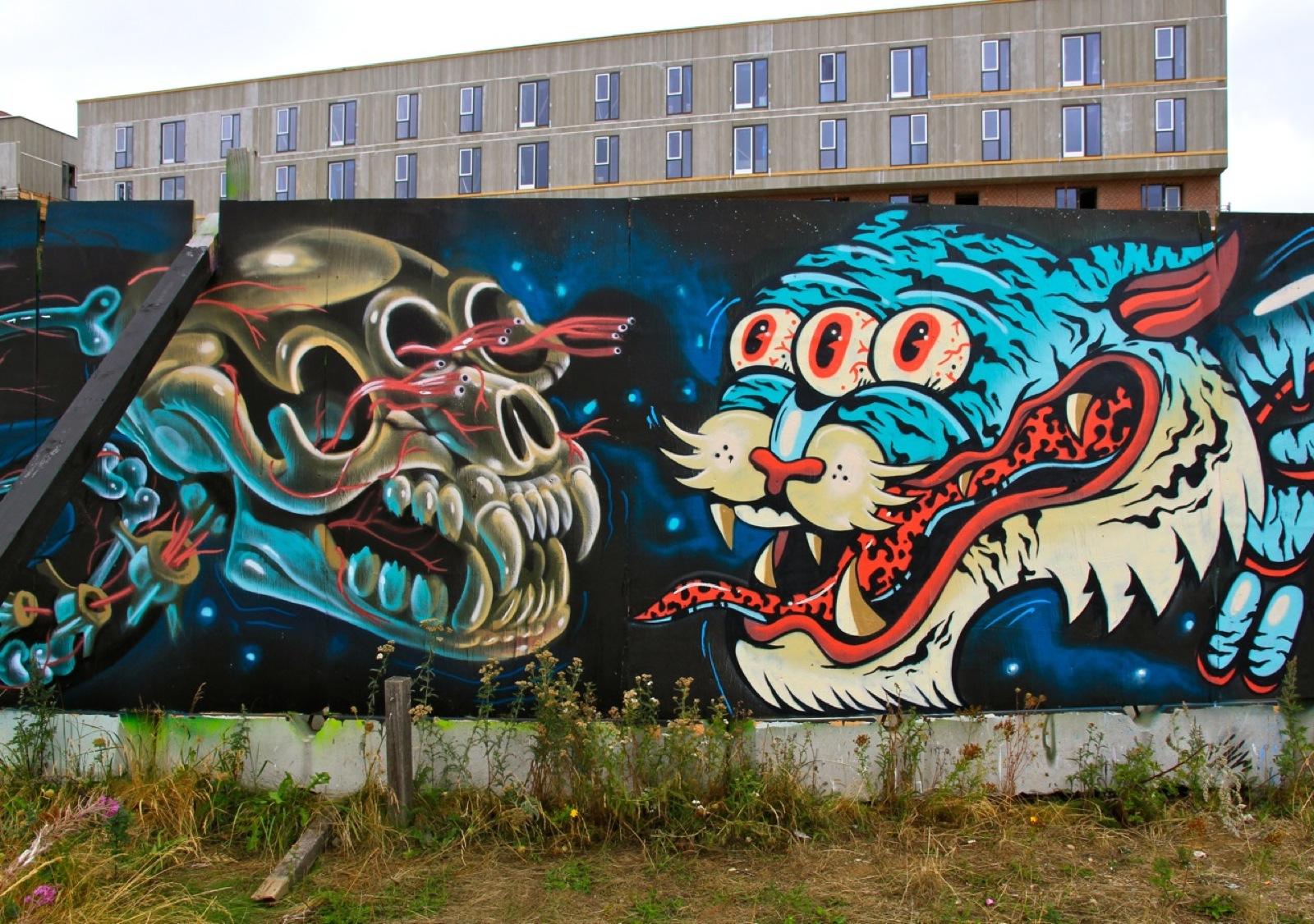 Nychos x dxtr x gevaer new mural in copenhagen denmark for Mural street art
