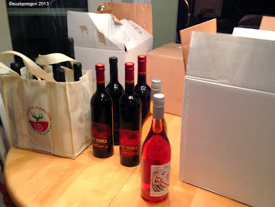 Boxes and bottles of wine