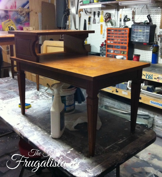 MCM Tiered Table Before Makeover
