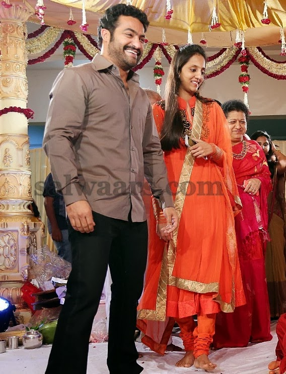 JR NTR Wife in Orange Salwar