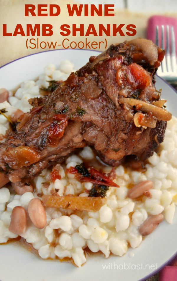 Juicy, fall-off-the-bone delicious Slow-Cooker Red Wine Lamb Shanks - better than any restaurant's !