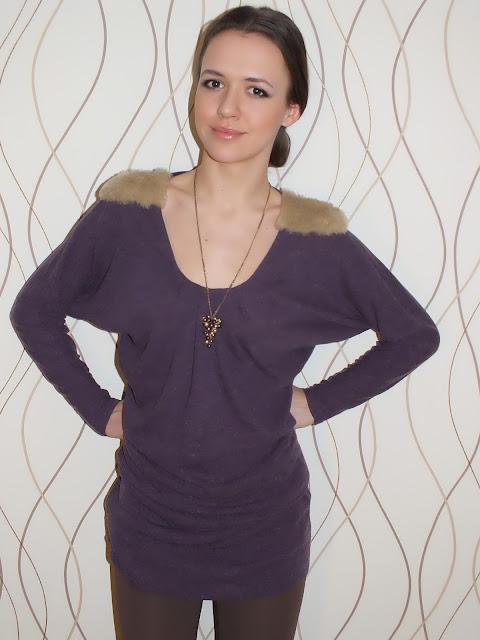 bluzka nietoperz z futerkiem, futrzane ramiona