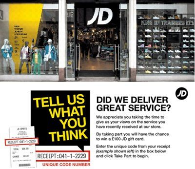 jd-feedback.co.uk: Win £100 JD gift card in JD Feedback Survey
