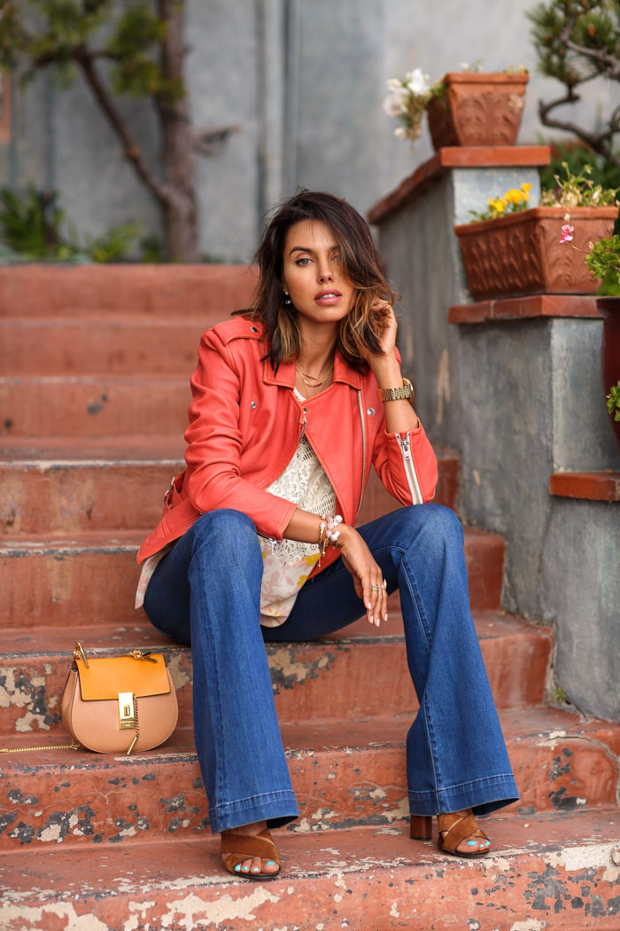 IRO Ashville leather jacket in coral pink, Coral leather jacket