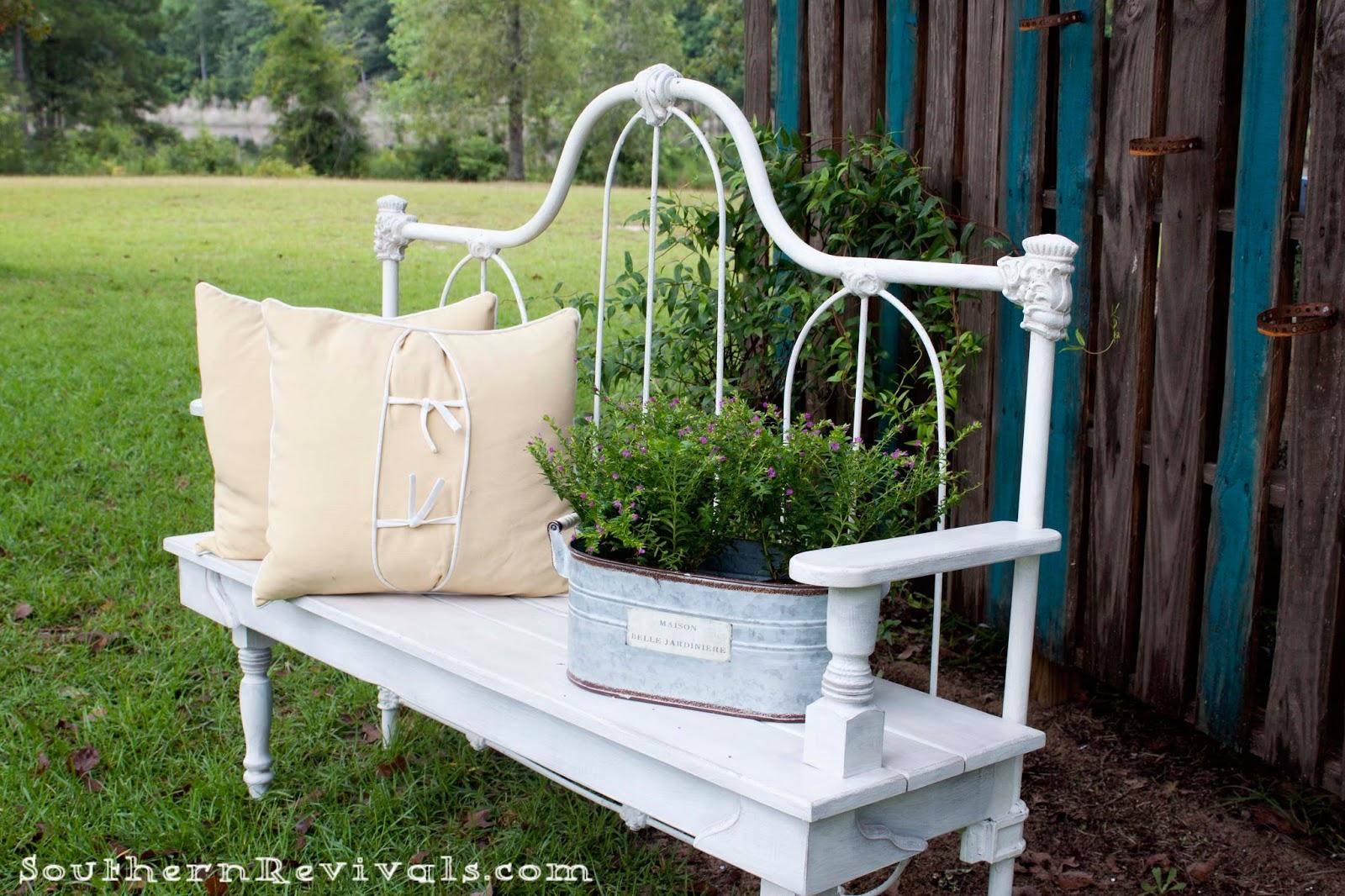 headboard garden bench DIY Repurposed Metal Headboard Bench - Southern Revivals