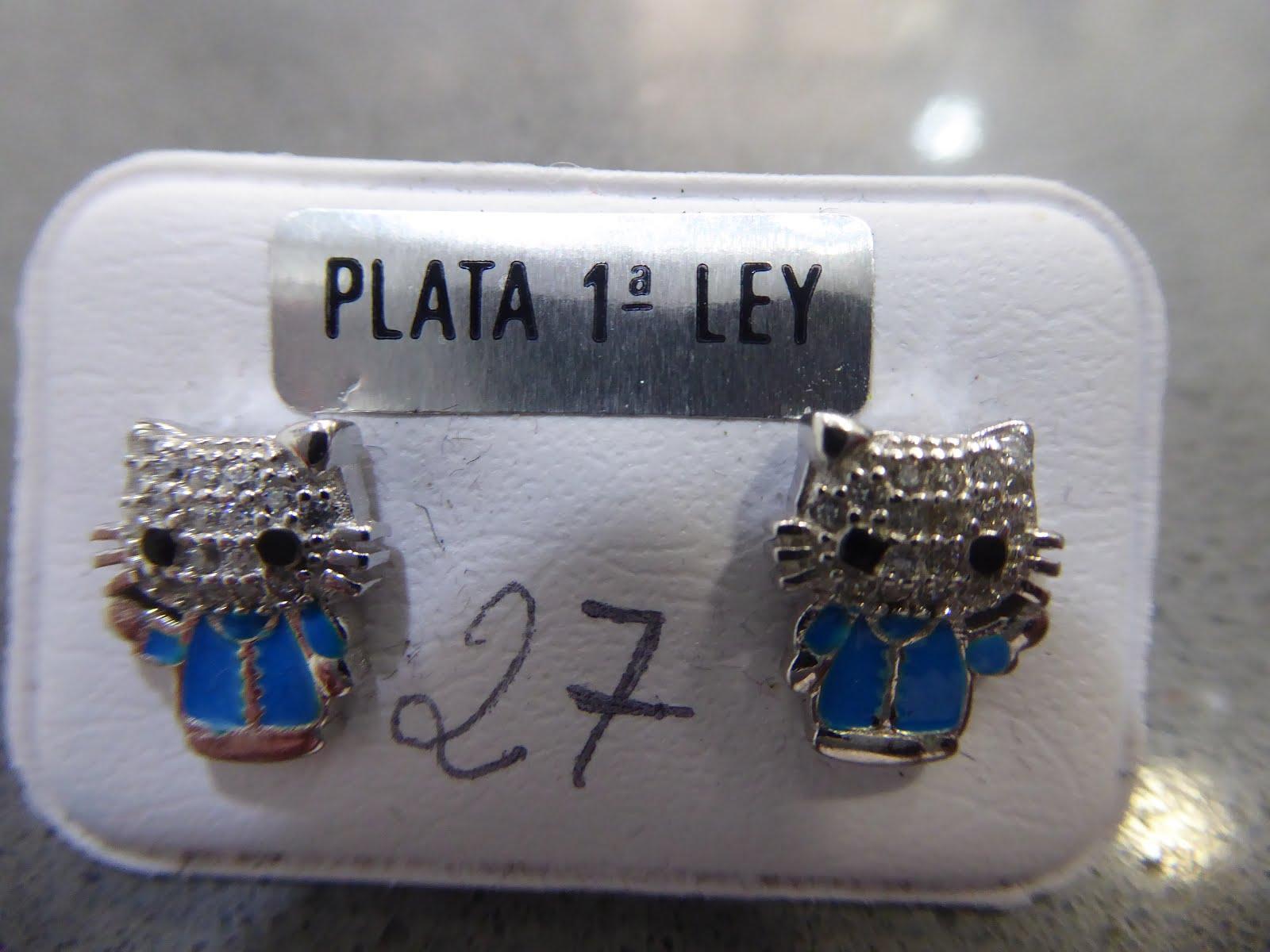 Pendientes de plata gato azul