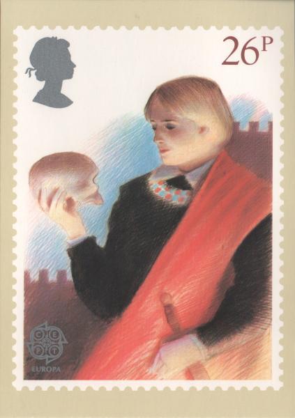 postcard illustration of Hamlet speaking to the skull