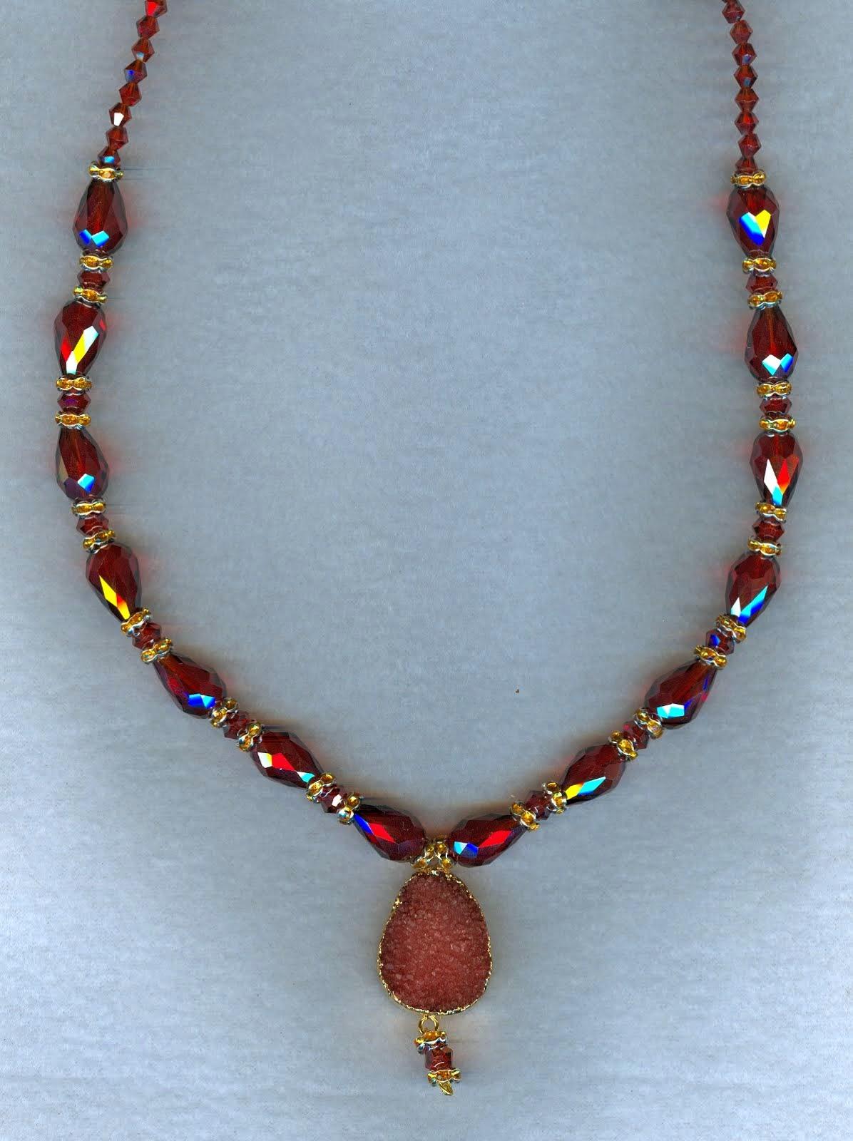 raspberry color druzy quartz