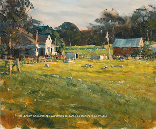 Plein air oil painting rural landscape sketch by Andy Dolphin.