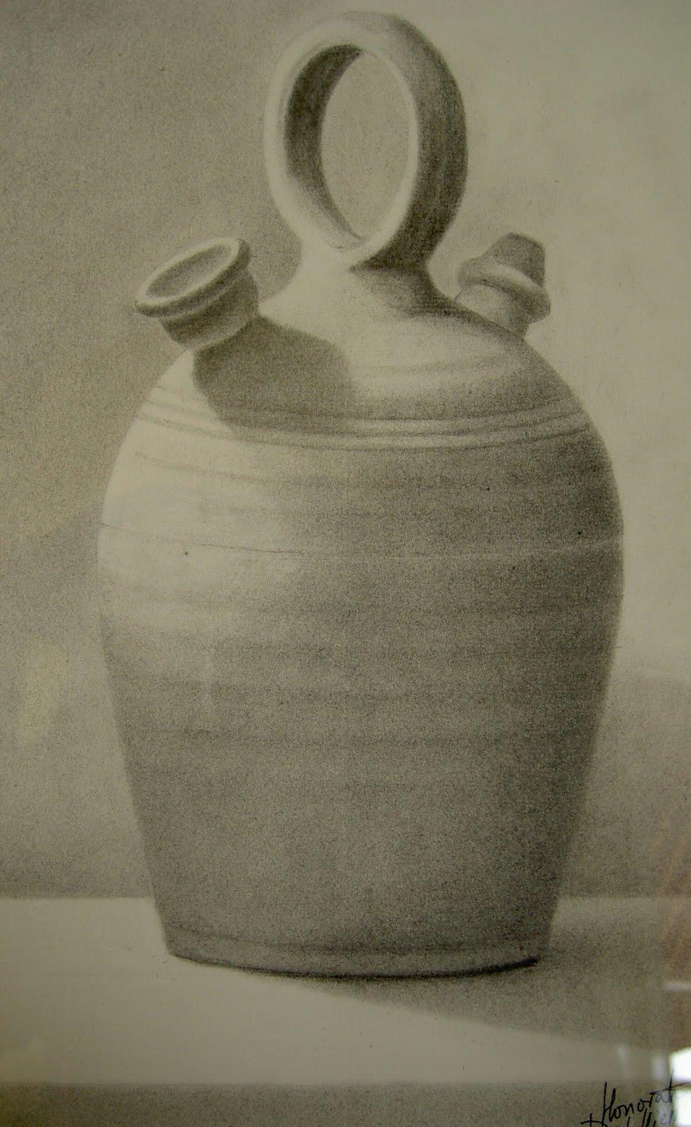 Acuarelas de honorato del hierro jarra de barro del natural - Botijo de barro ...