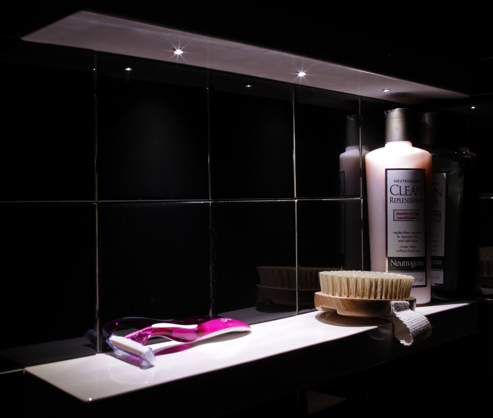 Bathroom shower lights - This Picture Below Is With Larger Shampoo Bottles And 3 4 1 4 Tiles In Between Click On The Picture For Larger Size We Can Mount Led Lighting In Any Of