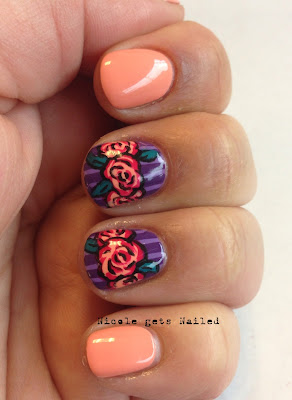 Vintage Roses Pink and Purple Nail Art