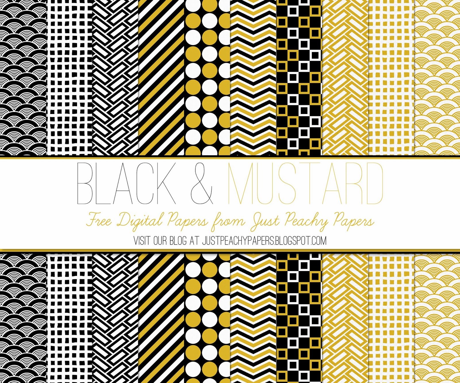Free Digital Paper: Black and Mustard