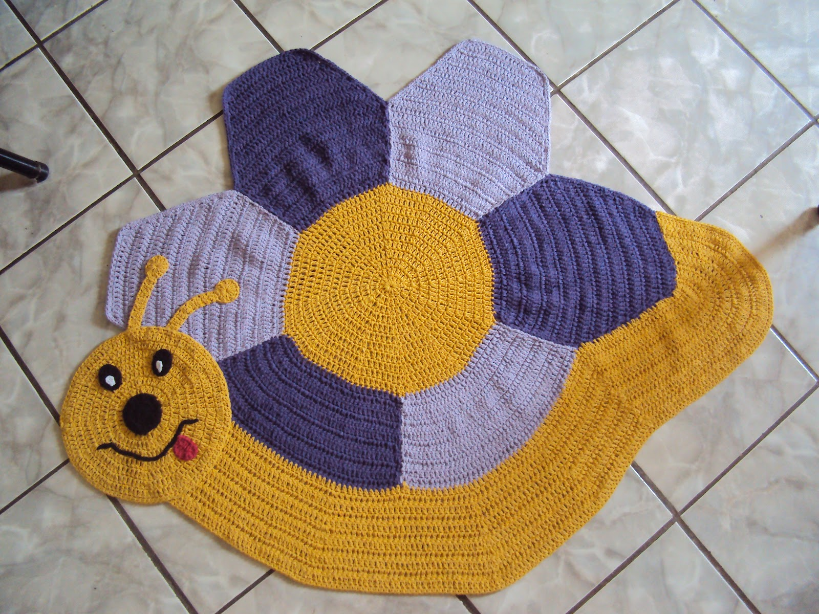 Natalyne Crochê Tapete de Crochê de Caracol ~ Tapetes Para Quarto Infantil Em Croche