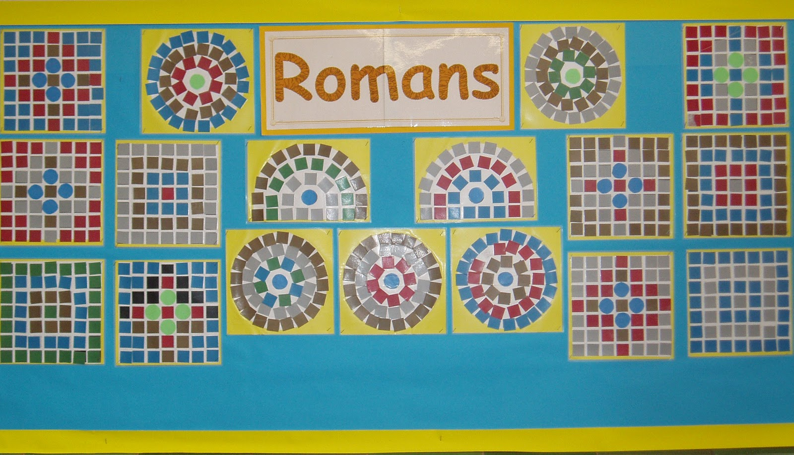 Classroom displays volcanoes and display photos on pinterest for Roman mosaic templates for kids