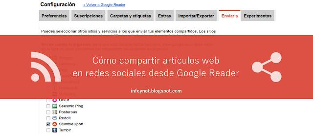 Cómo compartir artículos web en redes sociales desde Google Reader
