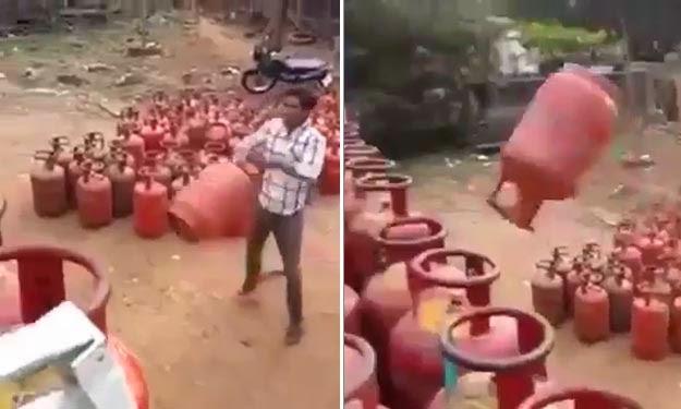 Cara paling pantas dan pelik susun tong gas dalam lori