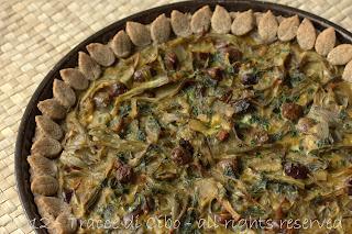 torta rustica di carciofi ed olive taggiasche, carciofi, olive taggiasche