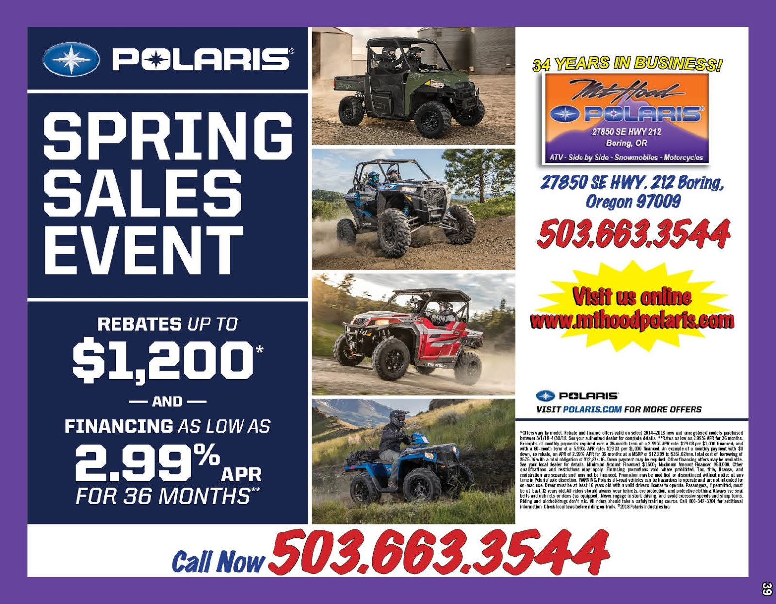 Mt Hood Polaris New Spring Sales Event!!