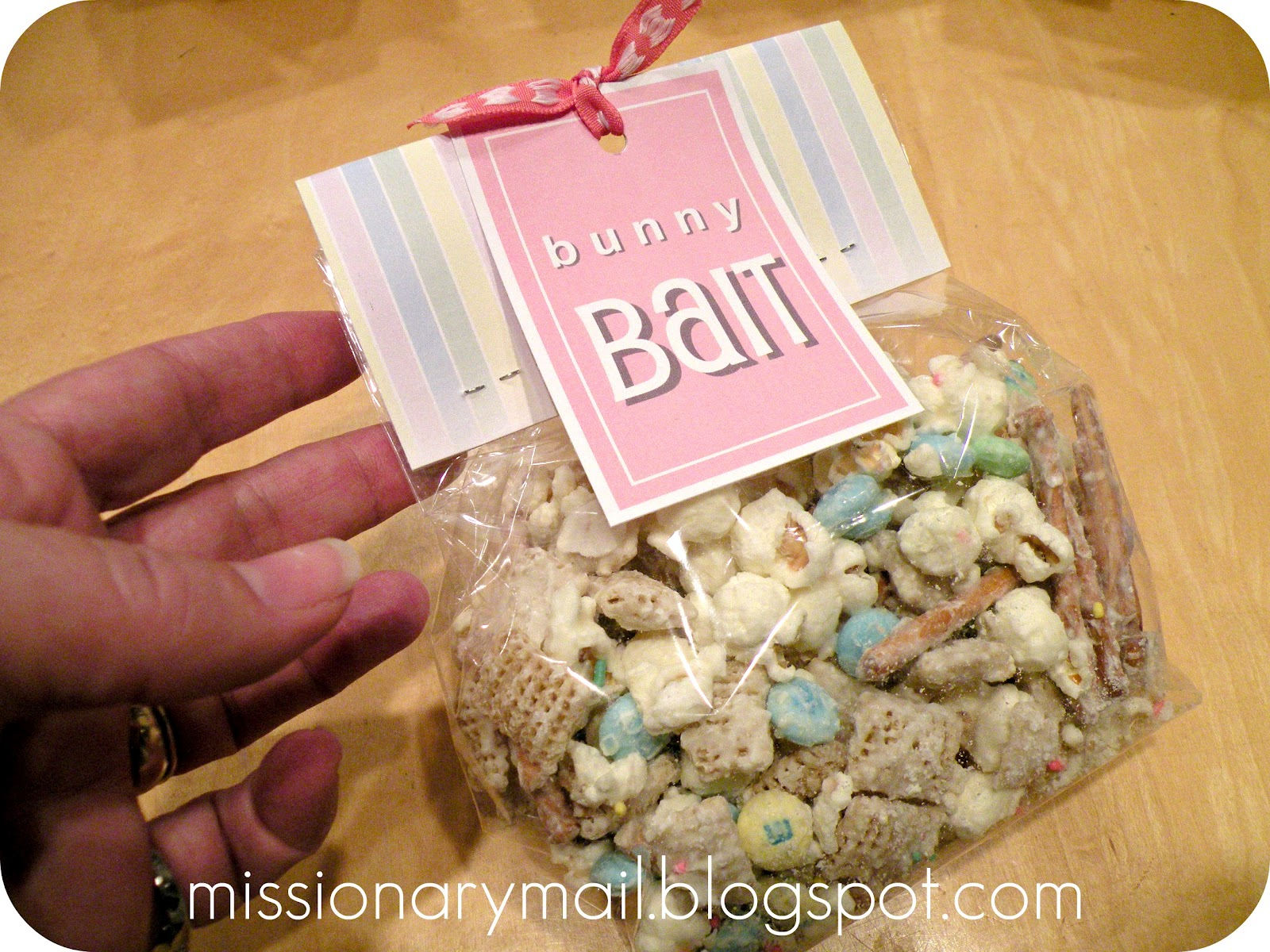 Missionary mail easter fun in a large bowl combine 12 the box of rice chex cereal with a few handfuls of pretzels some popcorn i just used my air popper and some mms negle Images
