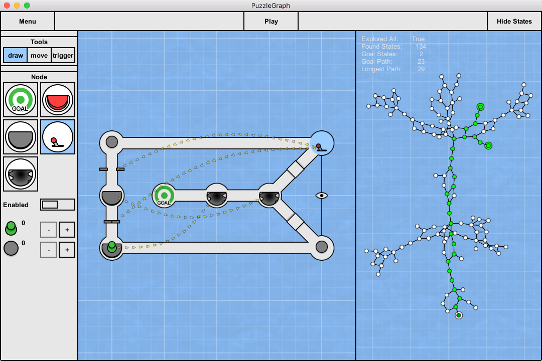 Working with puzzle design through state space visualization