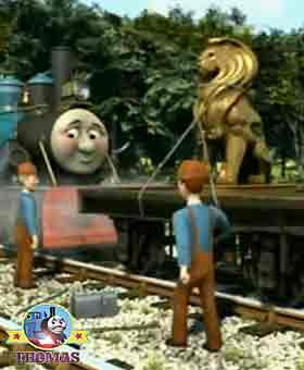 Repair railway line workmen stopped the track fixing job peering at train Ferdinand the tank engine