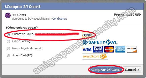 confirmando el pago con paypal de gemas de dragon city