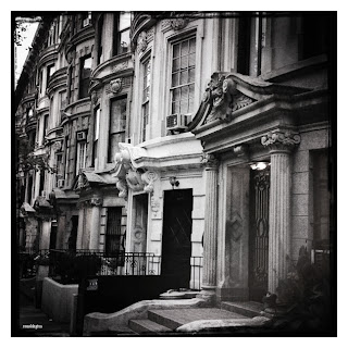 Houses and apartments on a street in Manhattan, New York City