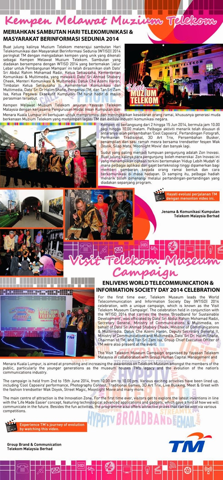 Visit Telekom Museum Campaign in Conjunction of World Telecommunication and Information Society Day 2014 Celebration