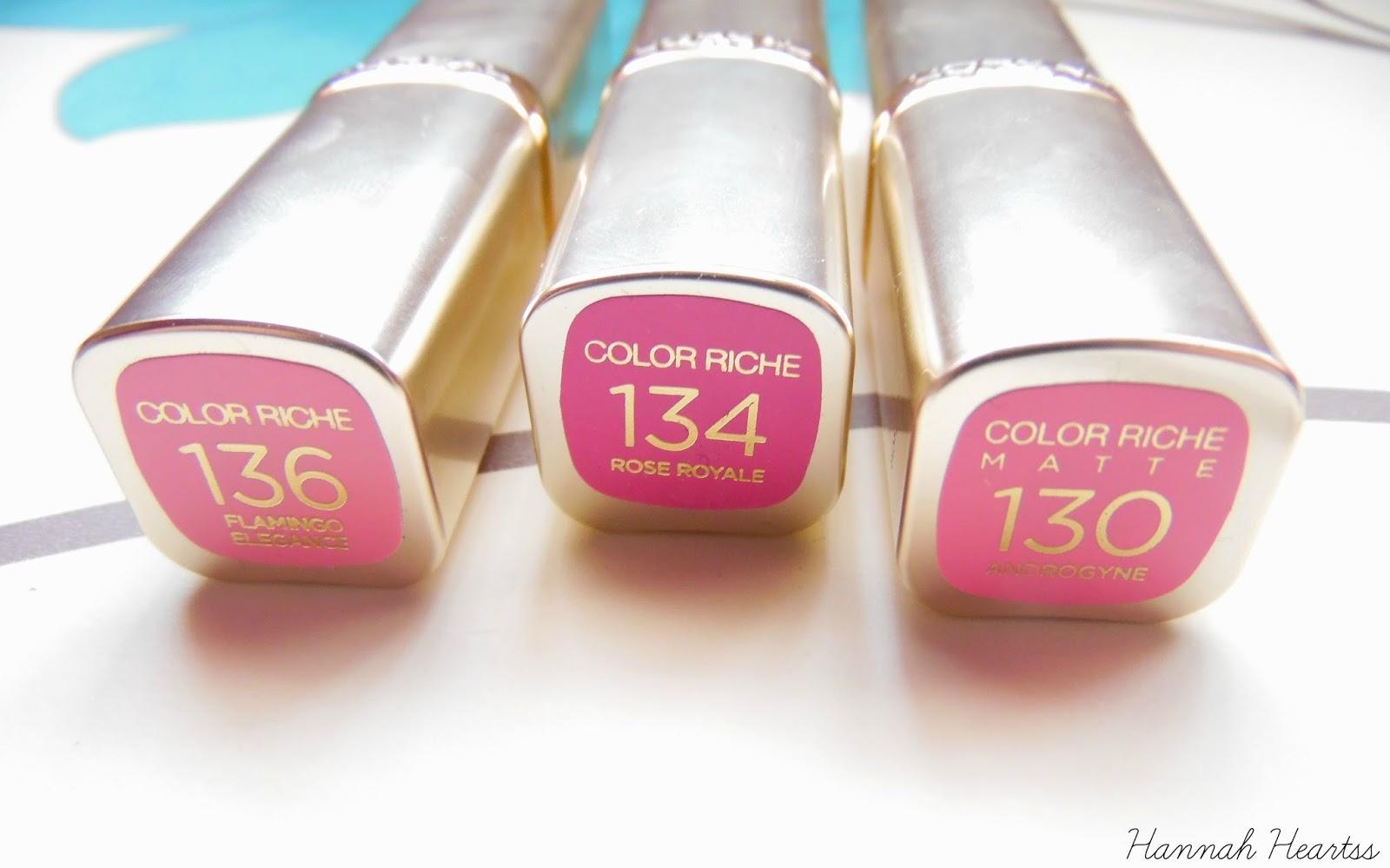 L Oreal Color Riche Lipsticks Hannah Heartss
