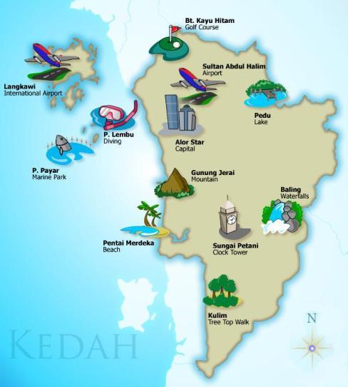 Kedah Map - Attractions Kedah