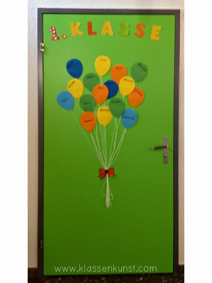 klassenkunst t rdekoration ballons. Black Bedroom Furniture Sets. Home Design Ideas