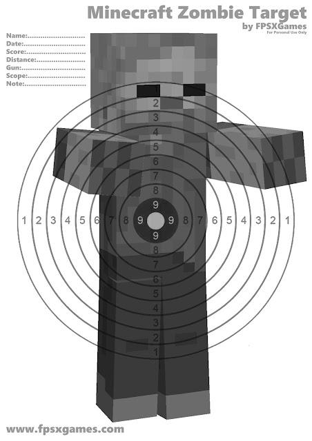 Printable Minecraft Zombie target