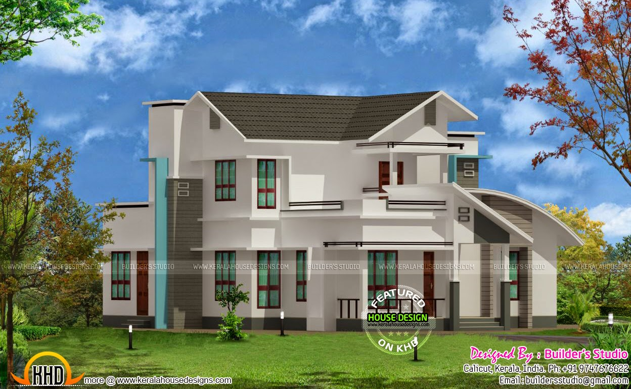 Mix roof house 2500 sq ft kerala home design and floor plans for 2500 sq ft house plans in kerala