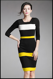 New 2016 Red/Yellow White Strap Black OL Dress