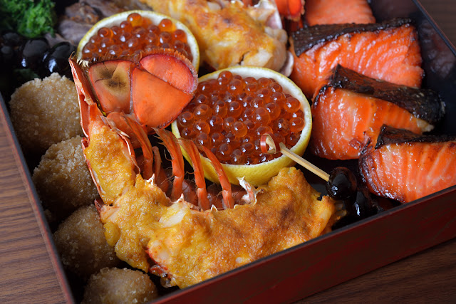 里芋香煎揚げ、ロブスター雲丹焼き、いくら醤油漬け、鱒味噌漬け deep fried taro with crispy rice, grilled lobster with sea urchin, ikura, grilled miso-marinated trout
