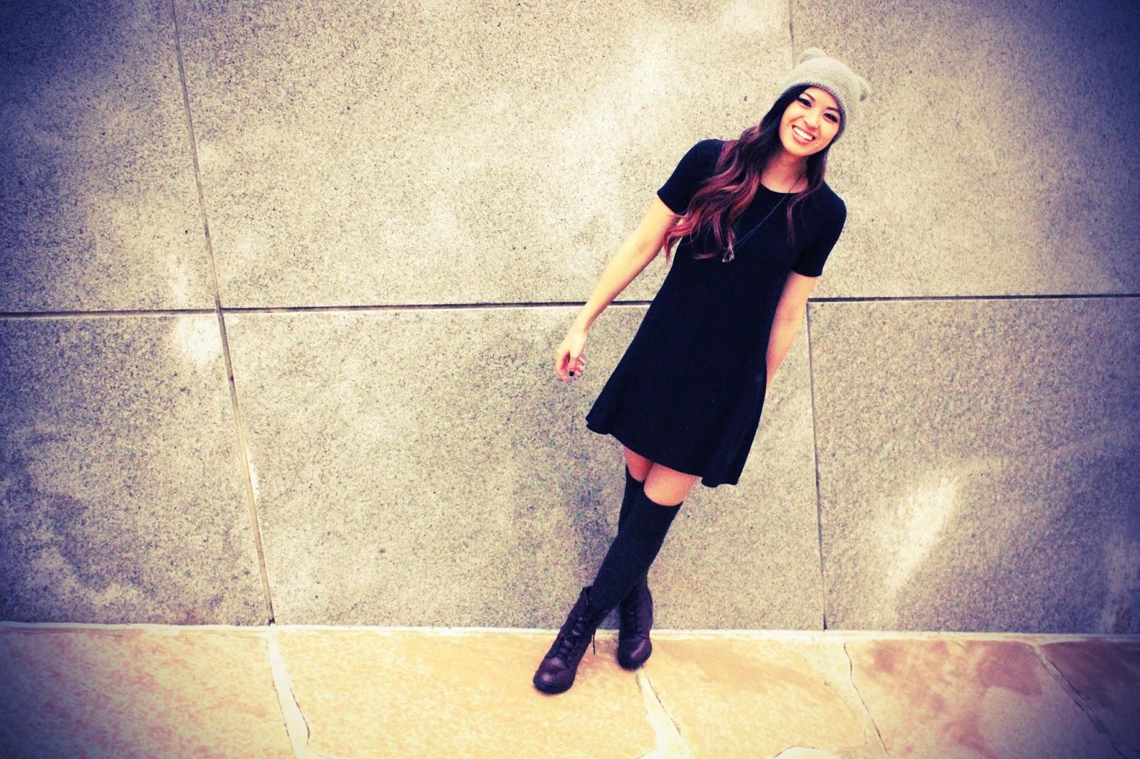 Threads n Breads :: Black Dress and Bear Beanie