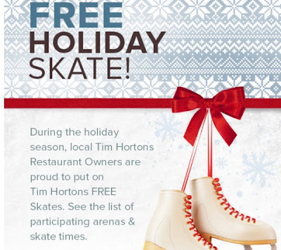 Tim Hortons Free Holiday Skate Schedule