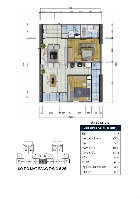 Thiết kế căn hộ số 12 - Chung cư Goldsilk Complex Vạn Phúc