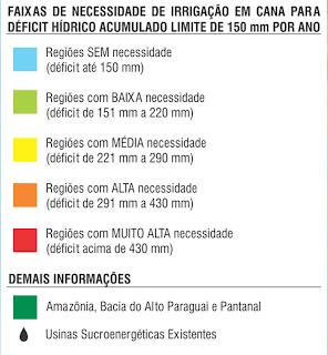 Mapa de necessidade de Irrigação de cana no Brasil