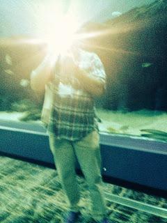 Muž ve světlých džínách a kostkované košili s krátkými rukávy, s obličejem zakrytým bleskem svého fotoaparátu.