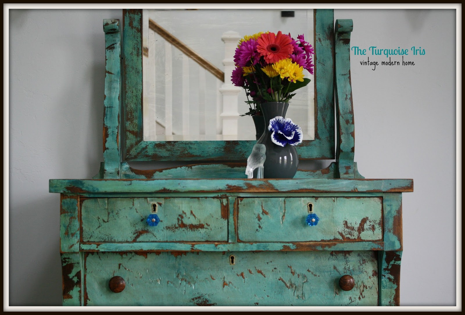 The Turquoise Iris Furniture Art Turquoise Heavily Distressed Antique Dresser