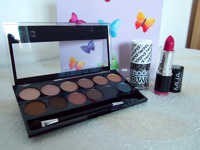 MUA Undressed Eyeshadow Palette, Lipstick, Model's Own Hedkandi Nail Polish in Ibiza Mix