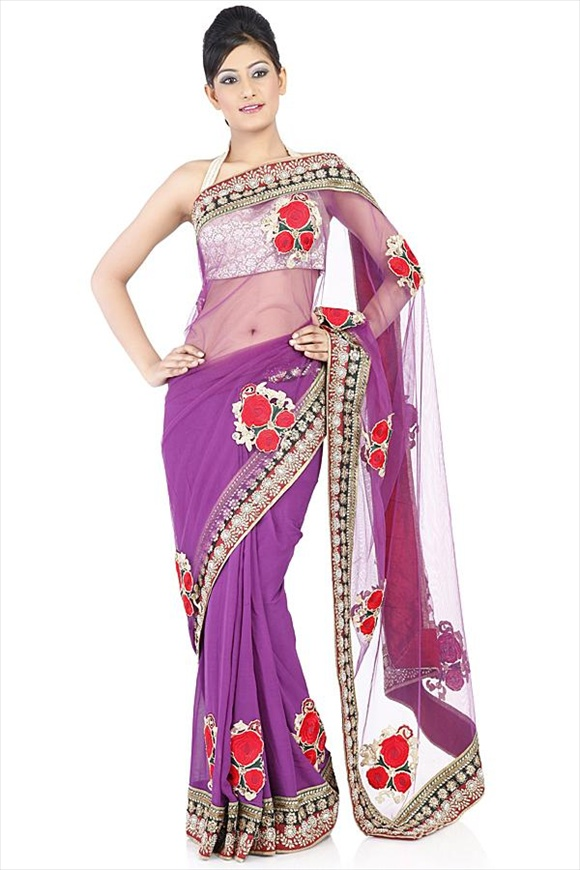 Imperial Purple Net Saree