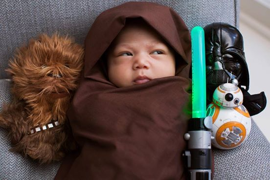 Facebook CEO  Mark Zuckerberg posted a photo of the baby in a Jedi costume on Friday,   The costume is complete with a lightsaber, Chewbacca and Darth Vader dolls.   He also captioned it appropriately  - The Force is strong with this one - sending it viral.